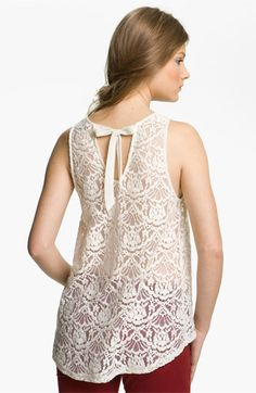 Chloe K Tie Back Lace Tank (Juniors) available at #Nordstrom- Mint (L)