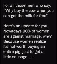 Why buy the entire pig, just to get a little sausage?