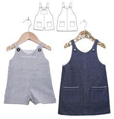 Patron de couture PDF à télécharger. Bébé Mixte 6 mois - 4 ans. Patron de couture pour une robe ou une salopette courte mixte, 2 grands classiques re-visités