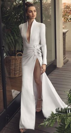 When it comes to find a dream wedding dress. There are so many things to consider about when you're trying on wedding dress, especially. 55 Long sleeve wedding dresses for fashion forward brides - wedding gown ,wedding dress Long Sleeve Wedding, Wedding Dress Sleeves, Long Wedding Dresses, Bridal Dresses, Prom Dresses, Gown Wedding, Long Gowns, Long Sleeve Gown, Designer Wedding Gowns