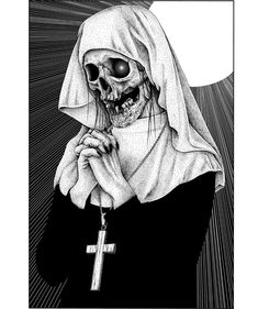 For a long time I did not draw nuns Dark Artwork, Dark Art Drawings, Skull Artwork, Cool Artwork, Skull Drawings, Tattoo Design Drawings, Dark Fantasy Art, Arte Horror, Horror Art