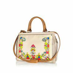 Beige gem stone embellished mini tote bag $100.00