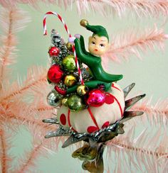 Vintage Silly Elf Clip Ornament OOAK by dimestorechic on Etsy