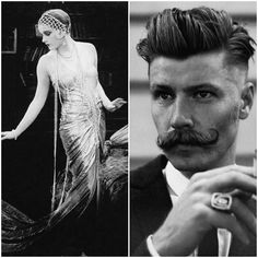 his mustache is epic. Gatsby Look, Gatsby Style, Roaring Twenties, The Twenties, 1920s Glamour, Fashion Through The Decades, Decade Party, Edwardian Hairstyles, Great Gatsby Theme