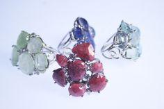 Rings white gold, diamonds and natural stones, aquamarine, rhodochrosite, lapis lazuli.