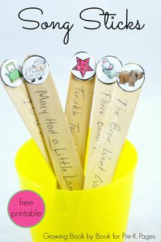 PRESCHOOL AGE Song Sticks: Building Skills in Transitions. A fun and interactive way for using songs in the early childhood classroom to help ease transitions- or any time! Perfect for your preschool kids or classroom. - Pre-K Pages Toddler Classroom, Kindergarten Classroom, Classroom Games, Pre School Classroom Ideas, Classroom Management, Head Start Classroom, Early Years Classroom, Preschool Transitions, Transition Songs For Preschool