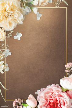 Golden blooming floral frame design | premium image by rawpixel.com / Donlaya Vintage Flowers Wallpaper, Vintage Floral Backgrounds, Flower Background Wallpaper, Framed Wallpaper, Bear Wallpaper, Flower Backgrounds, Blank Wedding Invitations, Wedding Invitation Background, Wedding Background