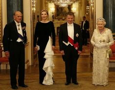 Queen Elizabeth II and her husband Prince Philip the Duke of Edinburgh, Colombia's president Juan Manuel Santos and his wife Maria Clemencia Rodriguez de Santos attended a State Banquet at Buckingham Palace on November 1, 2016 in London.