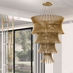 Tiered Modern Designer Gold Plated Italian Chandelier at Juliettes Interiors.