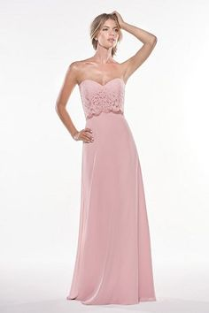 31457c2b3220 P196004 Long Sweetheart Strapless Lace   Georgette Bridesmaid Dress