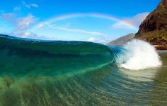 373131d2485292 Anuenue Shore Break, Ocean Waves, Beach Waves, Nature Pictures, Rainbow  Photo,