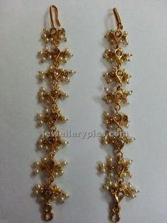 matilu or ear chain s Jewelry Design Earrings, Gold Earrings Designs, Gold Jewellery Design, Gold Jewelry, Jewelery, Gold Designs, Ring Earrings, Clay Jewelry, India Jewelry
