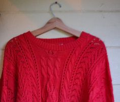 New Listing! Vintage 70's Red Cable Knit Sweater Vintage by founditinatlanta, $30.00