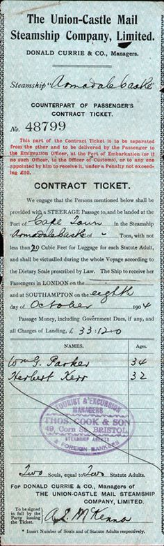 Steamship Ticket Record - Union-Castle Mail Steamship Company, Limited 1904 Steamship Ticket Record - Union-Castle Mail Steamship Company, Limited - Counterpart of Steerage Passenger's Contract Ticket, R. Arundale Castle, Southampton to Cape Town.