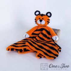 Tiger Lovey / Security Blanket - PDF Crochet Pattern - Instant Download - Blankie Baby Blanket by oneandtwocompany on Etsy https://www.etsy.com/listing/164004434/tiger-lovey-security-blanket-pdf-crochet