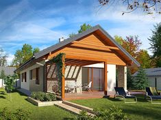 Projekt domu Bono 113,95 m2 - koszt budowy - EXTRADOM My House Plans, House Floor Plans, Bungalow Renovation, Concrete Wood, Contemporary Decor, Kids House, Own Home, Gazebo, Brick