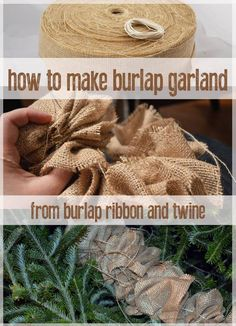 DIY Burlap Garland - This DIY burlap garland is easy to make and a great addition to a tree or any decoration. Made with just burlap ribbon and twine it is a simple craft.
