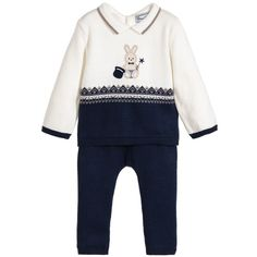 Boys ivory and navy blue knitted babsuit by Mayoral.