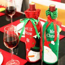 1 St Kerst Wijnfles Tas Etentje Decoratie Boog-knoop Sneeuwpop Kerstboom Kerstman Fles Cover Tas christus #91783(China (Mainland))