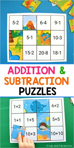 This colorful Addition and Subtraction to 20 Puzzles printable activity includes 6 different puzzles! There are at least two different ways to use them for practicing! Cut out the puzzle pieces… Addition And Subtraction Practice, Teaching Addition, Addition Activities, Subtraction Activities, Math Addition, Math Activities, Addition Games, Math Games, Learning Numbers Preschool