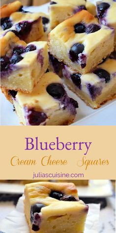 Perfect little bites of deliciousness! Cream cheese, plus cake, plus blueberries equals treat perfection! Make them for your next afternoon treat. Cream Cheese Bars, Cream Cheese Desserts, Cream Cheese Recipes, Blackberry Recipes With Cream Cheese, Cream Cheeses, Blueberry Cookies, Blueberry Desserts, Blueberry Custard Pie, Blueberry Squares