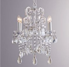 RH baby&child's Manor Court Crystal 4-arm Chandelier Vintage White:Inspired by an antique find, our regal chandelier's scrolling arms are draped with strands of glass beads and faceted crystals in a mix of shapes and sizes.