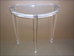 "Half Moon Console Table, 16"" x 36"" x 30"" tall. 2"" thick acrylic top and 2½"" thick acrylic legs. From munizplastics.com, 4/3/16"