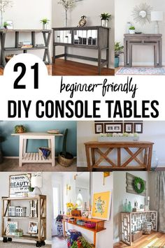 Great collection of DIY console tables! These are great for the entryway, living room. SOme have drawers or shelves. And they all have woodworking plans! #anikasdiylife Diy Furniture On A Budget, Simple Furniture, Inexpensive Furniture, Diy Furniture Projects, Furniture Making, Wood Projects, Welding Projects, Pallet Furniture, Easy Woodworking Projects