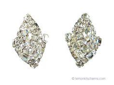 Vintage Clear Rhinestone Evening Earrings Jewelry 1950s