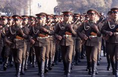 Enlisted infantrymen of the Soviet Army's Transcaucasian Military District marching through Lenin Square (now Republic Square) in the 1984 October Revolution Day Parade in Yerevan, Armenian SSR.