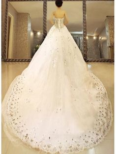 Ball Gown Floor-length Sweetheart Lace-up Cathedral Beading Wedding Dress & unusual Wedding Dresses