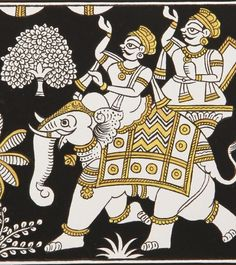 The Regal Journey Phad Art - This ancient art form gets a modern makeover with contemporary strokes featuring ancient ruler on the move This painting is the Phad Painting, Mural Painting, Fabric Painting, Indian Traditional Paintings, Indian Art Paintings, Rajasthani Art, Madhubani Art, Indian Folk Art, Madhubani Painting