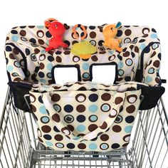 Premium-Quality Cushioned Seats with Pockets for Highchairs and Grocery Carts Adjustable Baby and Toddler Harness 2 in 1 Deluxe Size Shopping Cart Cover and High Chair Cover Unisex Owl Print