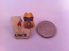 Enamel Lapel Pin USCS US Customs Special Agent Treasury Atlanta Olympics 1996 Us Customs, Atlanta Olympics, Special Agent, Lapel Pins, Enamel, Buttons, Ebay, Collection, Vitreous Enamel