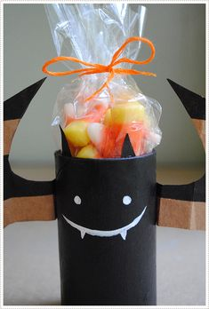 upcycle a toilet paper tube and brown shopping bag to a Halloween bat