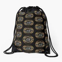 'Black And Gold Beware The Bear' Drawstring Bag by HavenDesign Drawstring Bags, Color Patterns, Backpacks, Bear, Tote Bag, Stylish, Gold, Stuff To Buy, Shopping