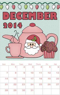 Free printable calendar, December, by Sher Hastings - http://www.etsydigitaldesigners.com/2014-free-printable-calendar.php