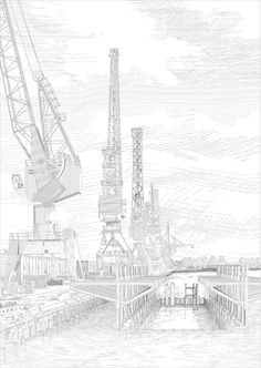 Twelve digital etchings completed by Johan Voordouw and Aisha Sawatsky and are currently exhibited at the International Architecture Biennale Rotterdam (IAB Water Architecture, Architecture People, Architecture Magazines, Architecture Graphics, Architecture Drawings, Architecture Details, Rotterdam, Architectural Section, Photoshop