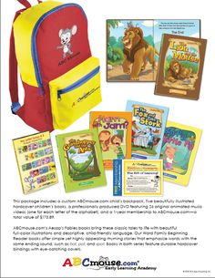 ABCmouse.com would also like to give one lucky reader a prize pack containing books, a DVD, and a year's membership to ABCmouse.com! ARV is $173! *Please note, contents of the package may vary slightly from what is in the picture.*    Ends 5/10