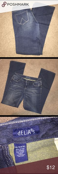 "Delia's XXLong Flared Jeans slight distressing in places, very long! (36"" or 37"" if I remember correctly), lmk if you have questions, flared but not super flared, 13/14 Delia's Jeans Flare & Wide Leg"