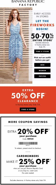 Pinned June 26th: 50-70% off everything & more at #BananaRepublic Factory #TheCouponsApp