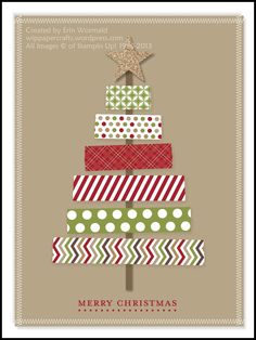 Digital Washi Tape Christmas Tree Card by WIP Paper Crafts - Cards and Papers - Christmas Cards Homemade Christmas Cards, Christmas Tree Cards, Handmade Christmas, Homemade Cards, Christmas Diy, Christmas Decorations, Christmas Card Designs, Chevron Christmas, Simple Christmas Cards