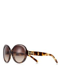 Channel a retro-chic vibe with our Large Round Glam Sunglasses. Flatteringly oversized and finished with a polished gold logo at the temples, this acetate pair will keep you stylishly shaded. Includes