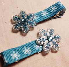 """CHRISTMAS 2"""" Hair Bow Clip - Blue Winter Snowflake - Great Holiday Accessories for Your Little Girl on Etsy, $3.50"""