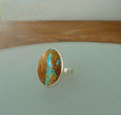 Boulder Turquoise ringGemstone ring Cocktail ring by anakim, $156.00