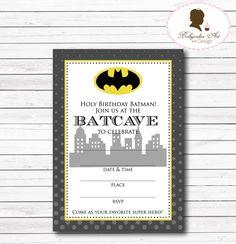 Instant Download Batman Birthday Invitation by BabycakesArt on Etsy https://www.etsy.com/listing/187429240/instant-download-batman-birthday