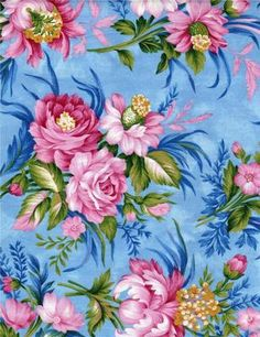 Blue Pink Floral Rose Cambridge Paintbrush Studios Ro Gregg Quilt Fabric Shabby