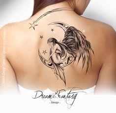Design Tattoo - Fée - Ange - Féerie - Lune