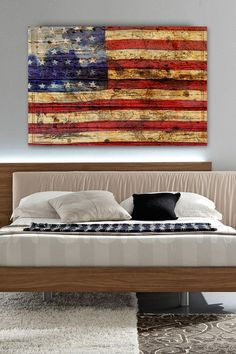 Vintage American Flag Wall Art american flag brown distressed wood wall artmarmont hill inc