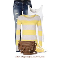 """Casual Yellow Stripes"" by steffiestaffie on Polyvore"